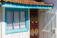 Baie d'Arcachon, France D?tail de la maison d'un p?cheur dans Piraillan image libre de droits