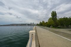 Baie de Bakou, boulevard Images stock