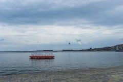 Baie de Bakou, vue à l'affiche, jeux européens 2015 Images libres de droits