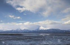 Baie de boue avec des nuages Images libres de droits