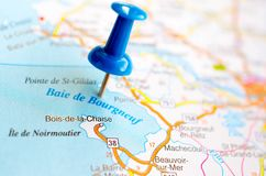 Baie de Bourgneuf on map. With push pin. is a commune in the Charente-Maritime in the department in the Nouvelle-Aquitaine region in southwestern France stock photos