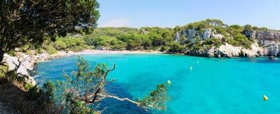 Baie de Cala Macarella, île de Menorca, Espagne Images libres de droits
