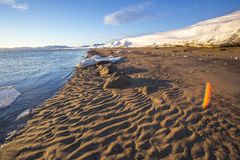 Baie de Guba Voronya Paysage d'hiver de Kola Peninsula photos libres de droits