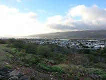 Baie de Hanuama de vue de ville dans Oahu HAWAÏ Etats-Unis images stock