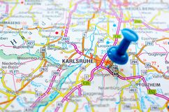 Karlsruhe on map. Baie de Karlsruhe on map with push pin. is the second-largest city in the state of Baden-Württemberg, in southwest Germany stock photography