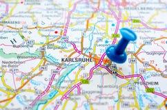 Karlsruhe on map Stock Photography