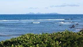 Baie de l'Embouchure avec la vue St Barts image stock