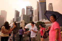 BAIE DE MARINA DU PAYSAGE URBAIN ESPANADE DE VILLE DE L'ASIE SINGAPOUR Photo libre de droits