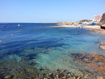 Baie de paradis, Malte image libre de droits