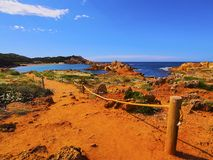 Baie de Pregonda sur Minorca Photo stock