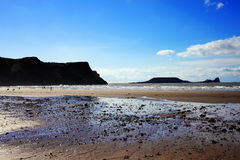 Baie de Rhossili de la tête du ver, Pays de Galles Images stock