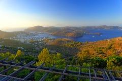 Baie de Skala, île de Patmos Photo stock