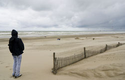 Baie de Somme with young man - France stock photos