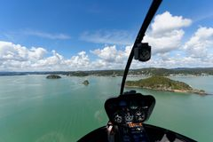 Baie de vol d'hélicoptère des îles NZ Photos libres de droits