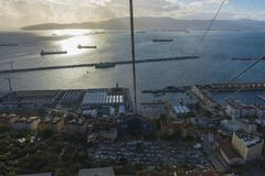 Baie des docks d'Algésiras et de Gibrlatar photographie stock libre de droits