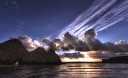 Baie dramatique de trois falaises sur Gower Peninsula Photographie stock libre de droits