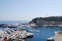 Baie du Monaco, marina, mer, port, dock Image libre de droits