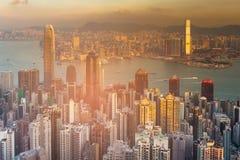 Baie finie du centre de Victoria d'affaires de paysage urbain de Hong Kong Photographie stock