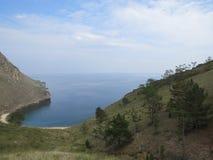 Baie Halsany La vue ? partir du dessus ?le d'Olkhon Lac Baikal image libre de droits