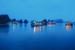 Baie long d'ha la nuit photographie stock