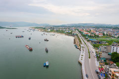 Baie long d'ha, Vietnam du nord Photos stock
