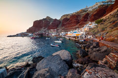 Baie Oia Santorini d'Ammoudi Photographie stock libre de droits
