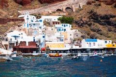 Baie Oia Santorini d'Ammoudi Photo stock