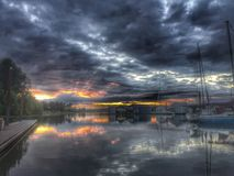 Baie Orégon de Scappoose de lever de soleil photo libre de droits