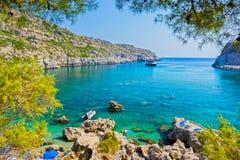 Baie Rhodes Grèce d'Anthony Quinn Image stock