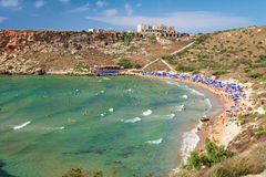 Baie Sandy Beach, Malte de Tuffieha Images stock