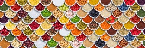 Baies d'ingrédients d'épices de fond de nourriture de fruits et légumes d'en haut photos stock