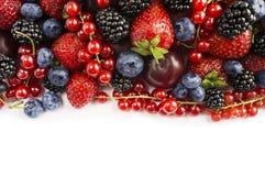 Baies de mélange sur un fond blanc Baies et fruits avec l'espace de copie pour le texte nourriture Noir-bleue et rouge Mûres mûre Photo libre de droits