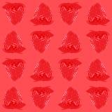 Baies entières de modèle sans couture de fraise, fond rouge de ton de vue supérieure Illustration courante de vecteur Photos stock