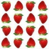 Baies entières réalistes de modèle sans couture de fraise, vue supérieure sur le fond blanc Illustration courante de vecteur Images libres de droits