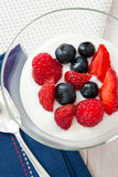 Baies fraîches d'été en yaourt Photographie stock