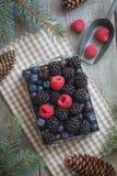 Baies fraîches dans la boîte de fer sur la serviette beige avec des cônes et des branches de Noël-arbre Fond rustique Images stock