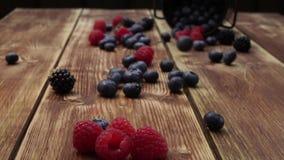 Baies, framboises, mûre, myrtilles, mûre, ronce bleue, plat, fond bleu, petit fruité, grain, graine, noyau, granu banque de vidéos