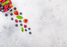 Baies organiques crues fraîches d'isolement dans le plat en céramique blanc de cuvette sur le fond de table de cuisine Vue supéri photo libre de droits