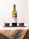 Baigelman glassware z wino butelką Zdjęcia Stock