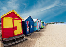 Baignant des cadres sur la plage de Brighton - Melbourne - once Images libres de droits