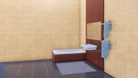 Baignoire dans la salle de bains minimaliste moderne 3D intérieur banque de vidéos