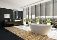 Baignoire ovale moderne dans une salle de bains de luxe Photographie stock libre de droits