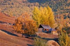 Baihaba Village. Baihaba is the most north-western village of China, bordering Kazakhstan. Northern Xinjiang, China, October, 2007 Stock Image