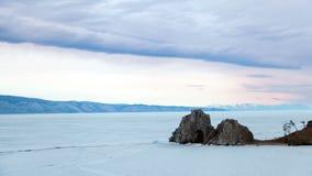 Baikal λιμνών χειμερινό τοπίο Burkhan ακρωτηρίων timelapse φιλμ μικρού μήκους