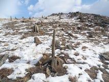 Baikal το χειμώνα Μυστήριες θέσεις Στοκ Φωτογραφίες
