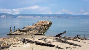 Baikal, alter Pier Lizenzfreie Stockfotografie