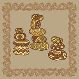 Baikal cairns illustration in doodle style. Vector monochrome sk Stock Image