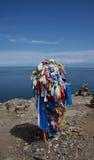 Baikal, cap Khoboy, la serge du bouddhiste Images stock