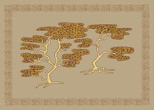 Baikal cedar illustration in doodle style. Vector monochrome ske Royalty Free Stock Photography