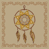 Baikal dream catcher illustration in doodle style. Vector monoch Stock Photos